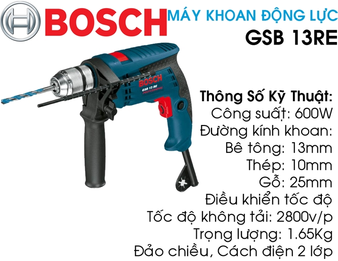 may khoan dong luc BOSCH GSB 13RE TSKT